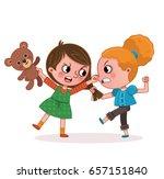 two girls fighting  vector... | Shutterstock .eps vector #657151840
