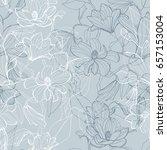 magnolia blossom seamless... | Shutterstock .eps vector #657153004