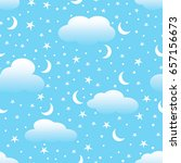 white clouds  moon and stars in ... | Shutterstock .eps vector #657156673