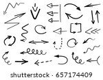set of grunge hand drawn arrows ... | Shutterstock .eps vector #657174409