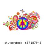 print with hippie peace symbol... | Shutterstock .eps vector #657187948