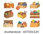 boxes full kid toys cartoon...   Shutterstock .eps vector #657201124
