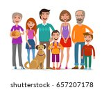 Stock vector big happy family group of people parents and children concept cartoon vector illustration 657207178