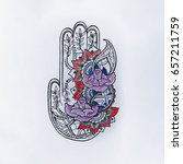sketch of hamsa with patterns... | Shutterstock . vector #657211759