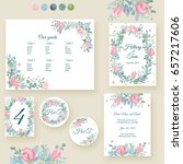 watercolor wedding invitation... | Shutterstock . vector #657217606