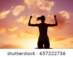 victory and power  strong woman ... | Shutterstock . vector #657222736