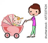 mother in pink stroller with... | Shutterstock . vector #657237424