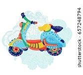 motor scooter doodle in nice... | Shutterstock .eps vector #657248794