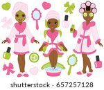 vector spa girls enjoying spa... | Shutterstock .eps vector #657257128