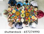family and friends gathering... | Shutterstock . vector #657274990