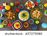 beautiful decorated and served... | Shutterstock . vector #657275080