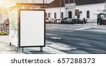 city bus stop on paving stone... | Shutterstock . vector #657288373