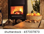 cozy room with fireplace and... | Shutterstock . vector #657337873