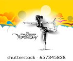 woman practicing yoga pose ... | Shutterstock .eps vector #657345838