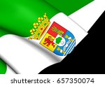 3d flag of extremadura  spain.... | Shutterstock . vector #657350074
