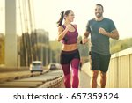 early morning workout. happy... | Shutterstock . vector #657359524