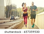 early morning workout. happy...   Shutterstock . vector #657359530