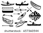 set of the kayaking sport icons....