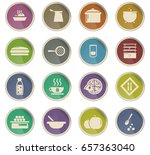 food and kitchen vector icons... | Shutterstock .eps vector #657363040