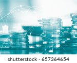 double exposure of coins with... | Shutterstock . vector #657364654