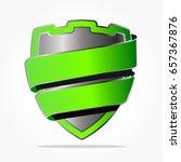 metal look shield with green... | Shutterstock .eps vector #657367876