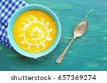pumpkin soup with cream on... | Shutterstock . vector #657369274