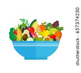 salad bowl. healthy food ... | Shutterstock .eps vector #657374230