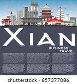 xian skyline with gray... | Shutterstock .eps vector #657377086