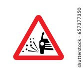 uk loose chippings warning sign. | Shutterstock .eps vector #657377350