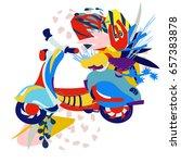 motor scooter doodle in nice... | Shutterstock .eps vector #657383878