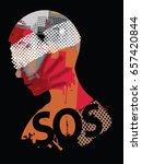 sos violence. human head... | Shutterstock .eps vector #657420844
