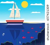 boat on water. vector art. ... | Shutterstock .eps vector #657421309