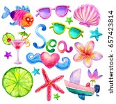 hand drawn cartoon colorful sea ... | Shutterstock . vector #657423814