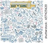 back to school doodles set.... | Shutterstock .eps vector #657425620