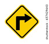 u.s. sharp turn right ahead sign | Shutterstock .eps vector #657429643