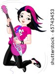 cool rock star girl playing... | Shutterstock .eps vector #65743453