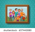 family photo on wall in wooden... | Shutterstock .eps vector #657443080