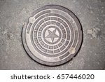 metal hatch cover with star... | Shutterstock . vector #657446020