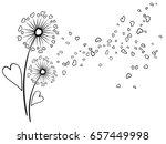 blow ball flower with heart...   Shutterstock .eps vector #657449998