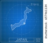 japan blueprint map template... | Shutterstock .eps vector #657461134