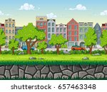 seamless cartoon cityscape... | Shutterstock .eps vector #657463348