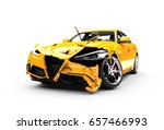 Stock photo yellow car crash on a white background isolated on a white background 657466993
