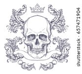 gothic coat of arms with skull. ... | Shutterstock .eps vector #657471904