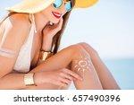 beautiful woman in yellow hat... | Shutterstock . vector #657490396