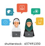 operator of call center office... | Shutterstock .eps vector #657491350