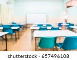 Blur Image Of Empty Classroom.