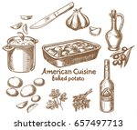 baked potatoes and ingredients | Shutterstock .eps vector #657497713