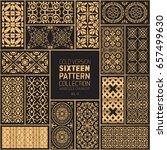 gold arabesque ornaments | Shutterstock .eps vector #657499630