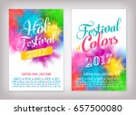 Cool vector Summer Festival background set with abstract colorful rainbow paint clouds. Poster, brochure, banner or flyer template design on 'Festival of Colors' and 'Holi Festival' with sample text | Shutterstock vector #657500080