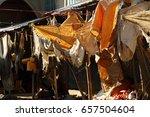 rags and tarpaulin hanging over ... | Shutterstock . vector #657504604